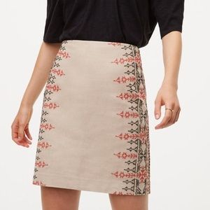 NWT Loft Embroidered Linen Mini Skirt